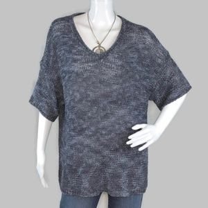 Chico's Knitted Dark Gray V Neck Sweater Size 3